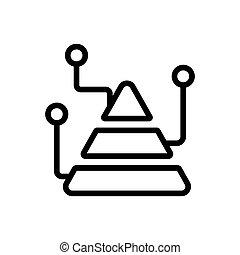 analisi, contorno, icona, vettore, piramide, illustrazione, grafico
