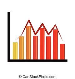 analisi finanziaria, affari, fluttuazione, grafico, appartamento, grafico, dati, icona