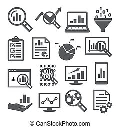 analisi, fondo, bianco, dati, set, icone