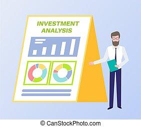 analisi, investimento, carta, infographics, uomo