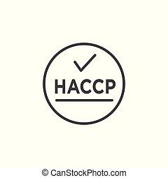 analisi, punti,  , azzardo, icona, haccp, checkmark, premio, o, critico, controllo