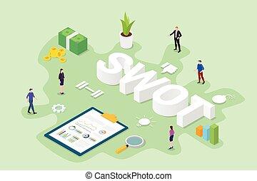 analisi, stile, affari, appartamento, squadra, ufficio, dati, vettore, moderno, isometrico, persone, swot, concetto, -