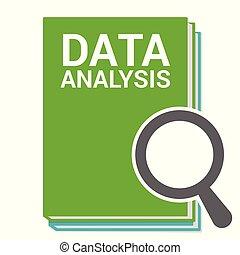analisi, vetro, ottico, parole, dati, ingrandendo, concept:
