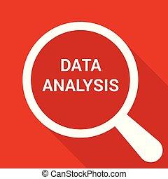 analisi, vetro, ottico, parole, dati, ingrandendo
