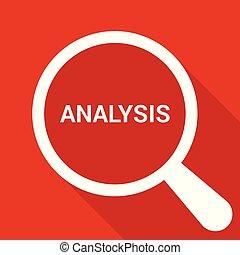 analisi, vetro, ottico, pubblicità, parole, ingrandendo, concept: