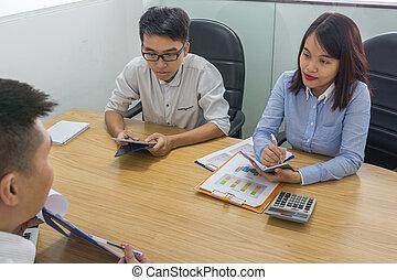 analizzare, finanziario, stanza, vendite uniscono, documento, riunione