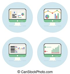 analytics, controllo, icone