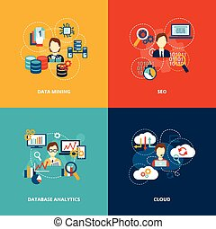 analytics, database, appartamento, icone