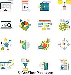 analytics, dati, appartamento, icone