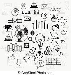 analytics, elementi, progresso, scarabocchiare, finanza, affari, learnings, scetches, disegnare, direzione, infographic, mano, concetto