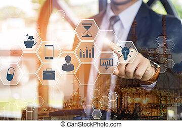 analytics, schermo, tecnologia, (bi), urgente, interfaccia, digitale, doppio, uomo affari, affari, virtuale, exposure., concept., fondo., grande, intelligenza, 4.0, icone, dati