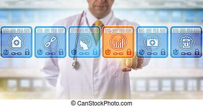 analytics, selezione, blockchain, blocco, dottore