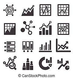analytics, set, icona