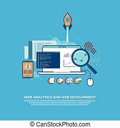 analytics, sito web, fondo, web, informazioni, sviluppo, concetto, appartamento