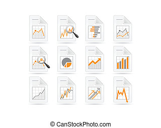 analytics, statistica, file, icone