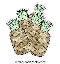 ananas, cartone animato, textured