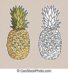 ananas, isolato