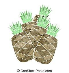 ananas, retro, cartone animato