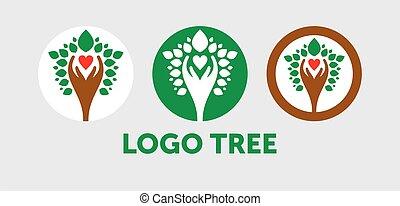 anche, albero, eco, rinnovabile, icona, questo, foglie, ambientale, rappresenta, conservazione, grafico, concetto, persone, sustainability, vector., amichevole, natura, -, amare, protezione, verde