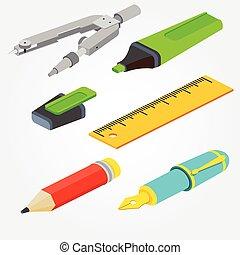 anche, utile, fondo., fontana, interfaccia, web, pennarello, isometrico, matita, vettore, penna, disegno, illustration., bussole, paio, infographics., domanda, righello, bianco