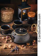 ancora, tè, vita, set, asiatico