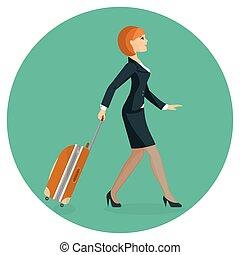 andare, aeroporto, donna, terminal., valigia