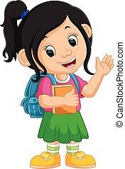 andare, carino, ragazza scuola, cartone animato