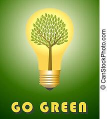 andare, concept., verde