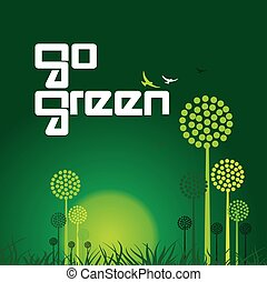 andare, concetto, verde