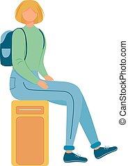 andare, donna, carattere, pieno, seduta, corpo, vacanza, caucasico, cartone animato, appartamento, femmina, valigia, illustration., bagaglio, giovane, trip., viaggiatore, ragazza, vettore, fondo, isolato, journey., bianco