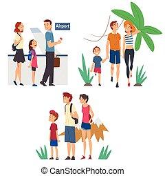 andare, famiglie felici, vacanza, set, estate, turisti, viaggiante, zaini, illustrazione, valigie, vettore