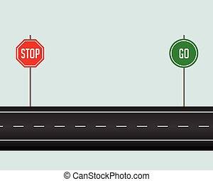 andare, fermata, sentiero, segno strada