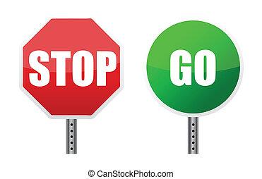 andare, illustrazioni, fermi segnale