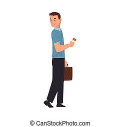 andare, maschio, biglietti, giovane, turista, vacanza estate, illustrazione, uomo, vettore, standing, aeroporto
