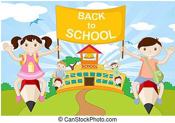 andare, matita, bambini scuola