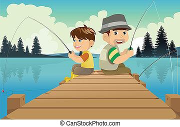 andare, padre, pesca lago, figlio