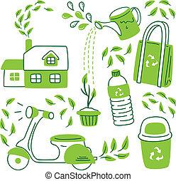 andare, scarabocchiare, stile, verde, icona