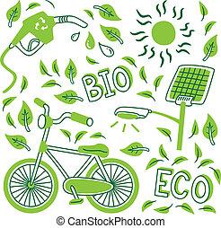 andare, scarabocchiare, verde, icona