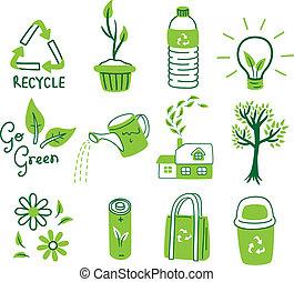 andare, set, verde, icona