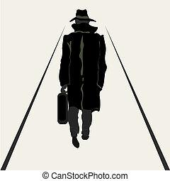andare, uomini, silhouette, cartella, mano