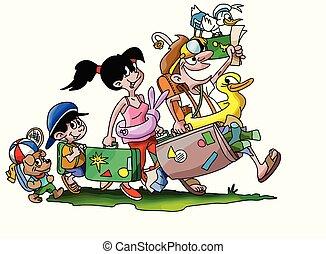 andare, vacanza famiglia, illustrazione, cane, loro, vettore, cartone animato