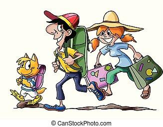 andare, vacanza famiglia, illustrazione, gatto, loro, vettore, cartone animato