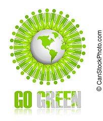 andare, verde, icona