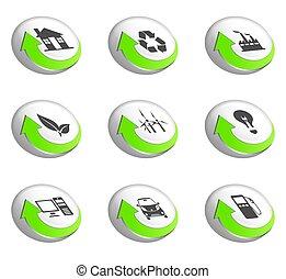 andare, verde, icone