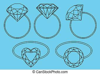 anelli, diamante, vettore, set