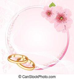 anelli, matrimonio, fiore, ciliegia, de