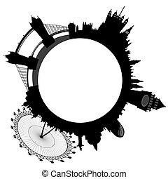 anelli, orizzonte, vettore, -, londra
