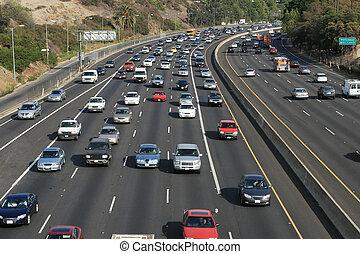 angeles, freeway., usa., los, traffico, hollywood, 101, california