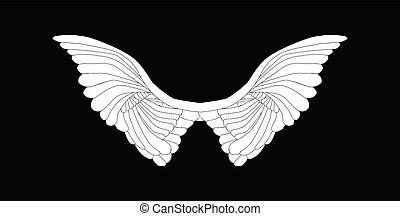 angelo, nero, ali, bianco, spalmare