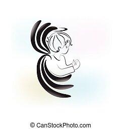 angelo pregando, bambino, logotipo